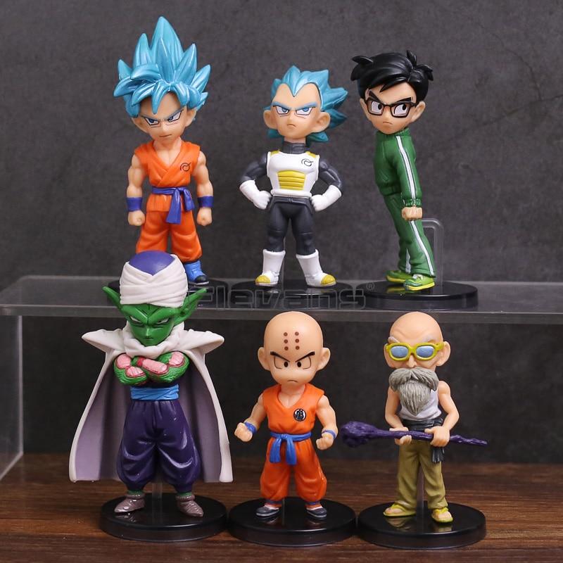 6pcs/set Dragon Ball Z Figurine Super Saiyan Blue Son Goku/Vegeta/Piccolo/Yamcha /Krillin/Master Roshi PVC Figures Toys figurine