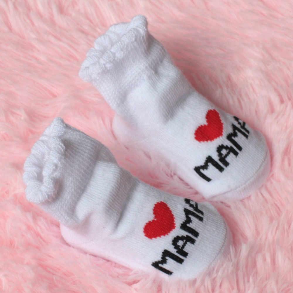 Calcetines antideslizantes para bebés y niñas calcetines con letras amo a mamá y papá suaves cómodos # K10