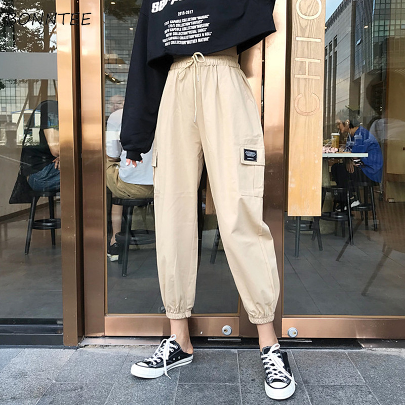 Pants Women Spring Autumn All-match Trendy Female Korean Style Leisure Loose High Quality Streetwear Pockets Trousers Solid Chic