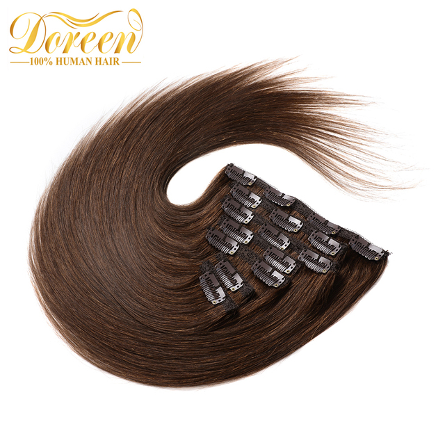 Doreen 4 Chocolate Brown Straight 16 26 Inch Clip In Human Hair