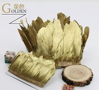 Golden Goose feather trims 2meters/lot Dyed geese feather ribbons /15 20cm Duck feather fringes for Costume/skirt