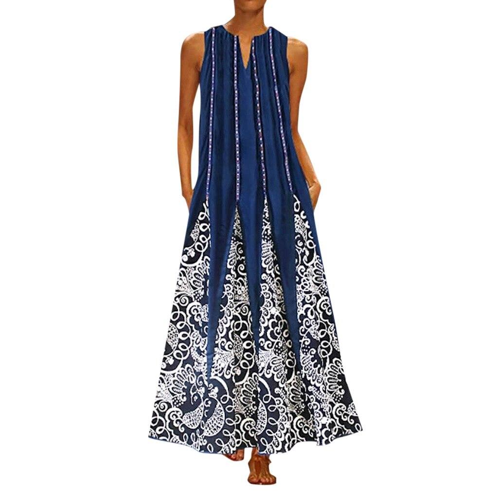 Vestido Maxi das mulheres plus size novo MAXIORILL летнее платье verão Vintage V Neck bohemian praia vestido de verão vestido Sem Mangas T-shirt #3