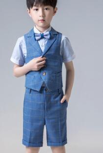 Короткий костюм для мальчиков, однобортные костюмы для мальчиков на свадьбу, костюм блейзеры для мальчиков, летняя одежда - Цвет: Синий