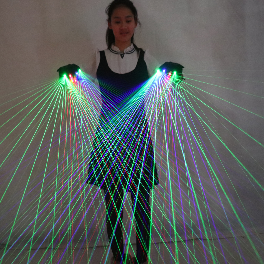 2 in 1 Multi line RGB Laser Gloves With2 Green 1 Red 1 Blue For LED