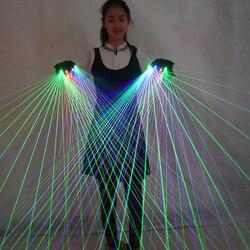 2 in 1 Multi-linie RGB Laser Handschuhe With2 Grün 1 Rot 1 Blau Für LED leucht Kostüme Zeigen