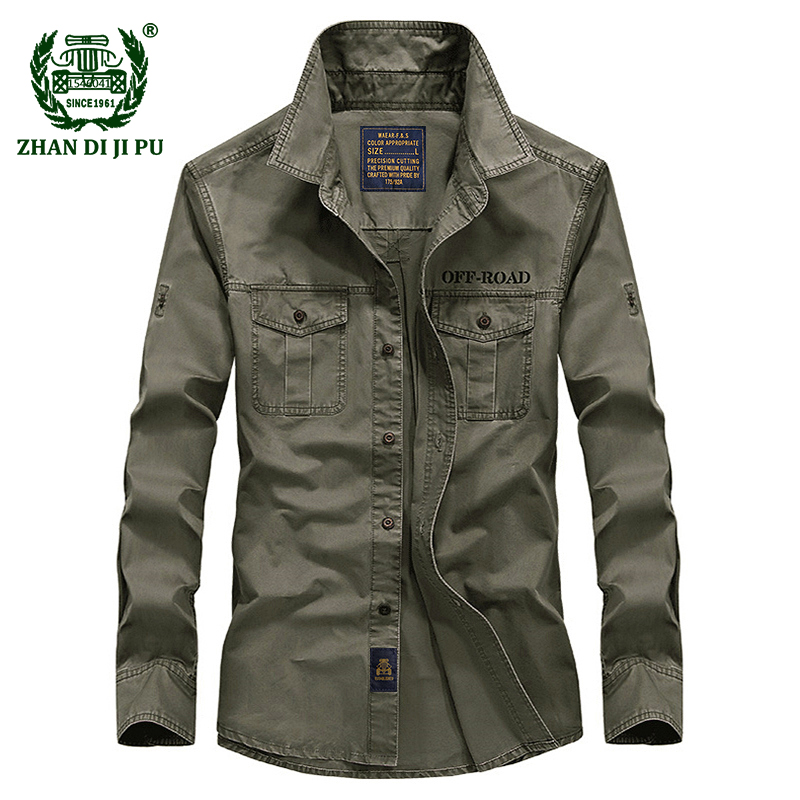 2018 Spring men's high quality military casual brand long sleeve shirt man autumn 100% cotton afs jeep army green shirts S 4XL