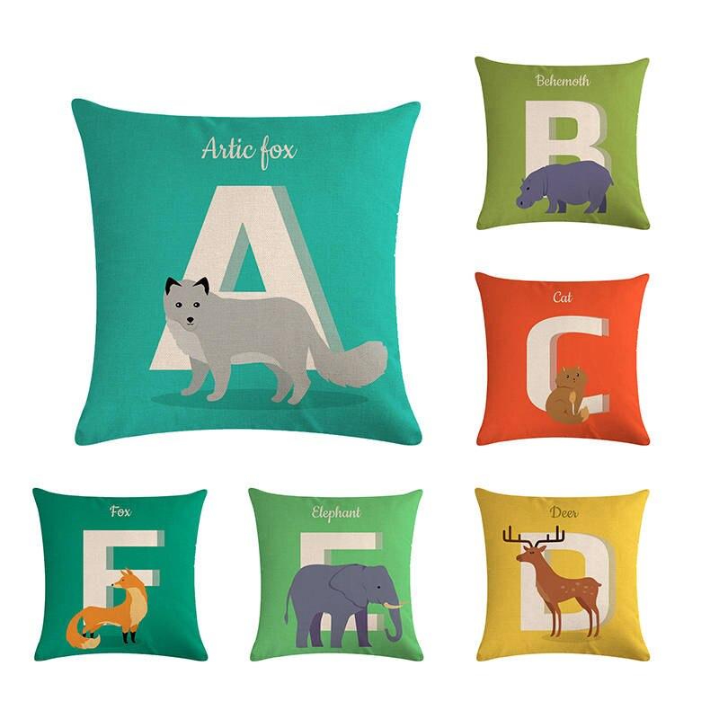 Cushion Covers For Sofa Nordic Alphabet Animal Print Fox