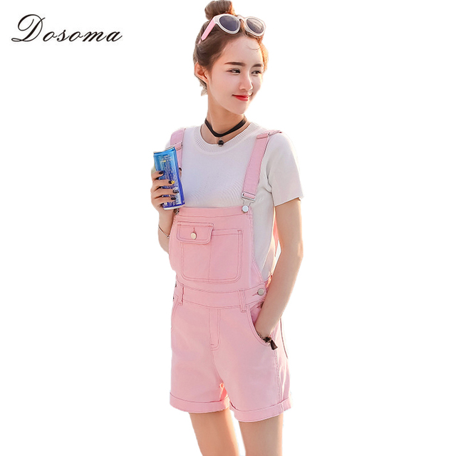 ef0b53dca512 DOSOMA Summer Short Denim Playsuits 2017 Korean Preppy Style Fashion Pocket  Womens Jumpsuit Girls Casual Denim Overalls Skinny