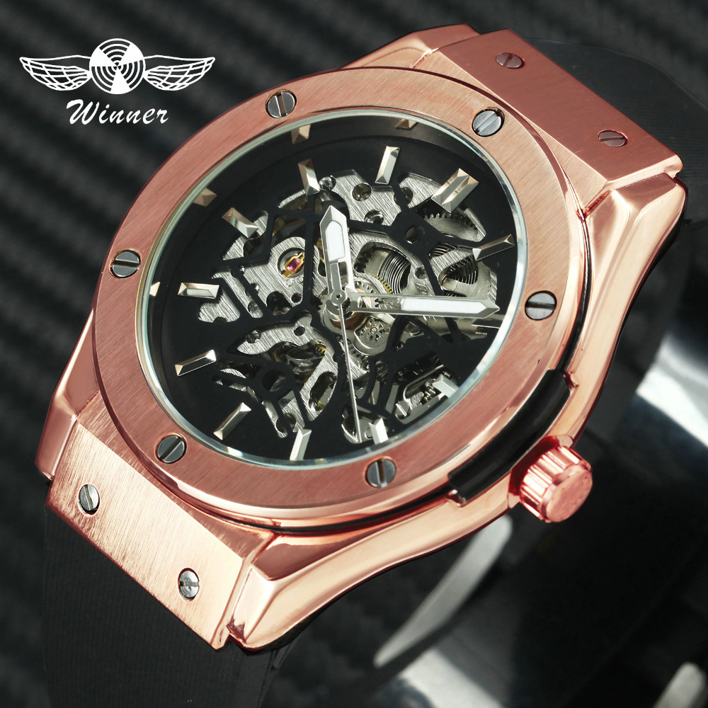 WINNER Military Mens Watches Top Branad Luxury Skeleton Dial Rubber Strap Rose Gold Case 2019 Fashion Sports Big Size Wristwatch