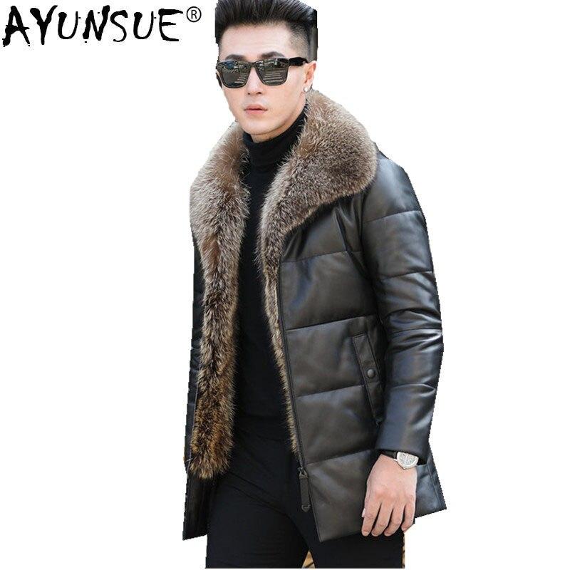 Chaqueta de plumas de pato ayunsuede 90% chaqueta de cuero de oveja genuina para hombre chaqueta de invierno chaqueta de Cuello de piel de mapache Real para hombres A-1550 MY762