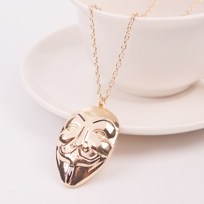 Free Shipping V for Vendetta Ritium Link Gold Mask Pendant Necklace Corrente Masculinos Neckless For Men