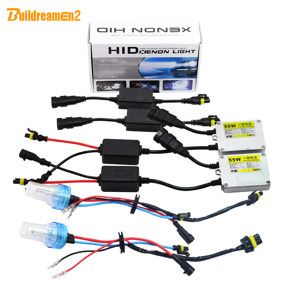 Buildreamen2 9006 HB4 55W Car Light Headlight HID Xenon Kit 3000K-8000K No Flicker Error AC Ballast Lamp Canbus Adapter Headlamp buildreamen2 55w 880 881 car light hid xenon kit 3000k 8000k anti flicker no error ac ballast bulb canbus adapter auto headlight