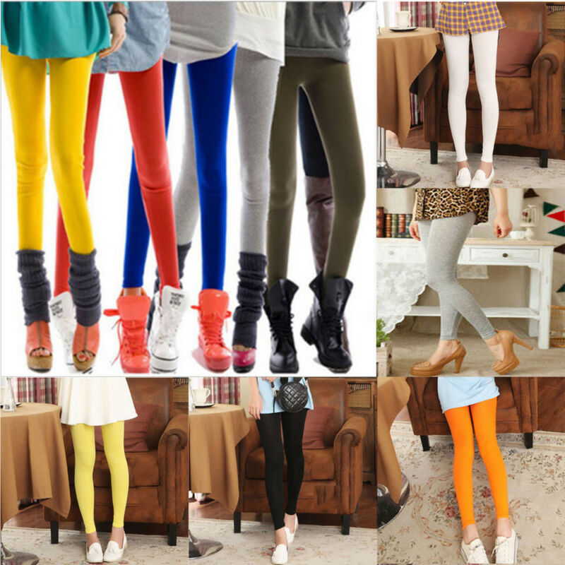 Women Pants Leggings Waist Solid High Cotton Color Full Length Genuine Trousers