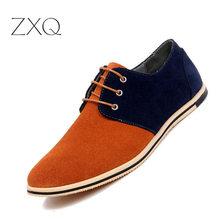 ZXQ New 2018 Autumn Men Faux Suede Leather Oxford Shoes Lace Up Comfortable Vibrant Orange Men