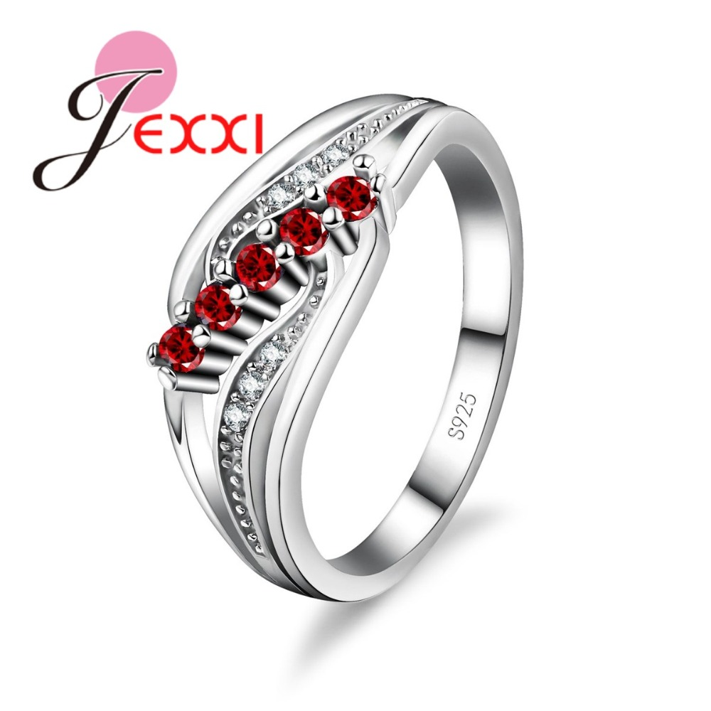 JEXXI Unique Design 5 Colors CZ Crystal Finger Rings 925 Sterling Silver for Women Wedding & Engagement Jewelry