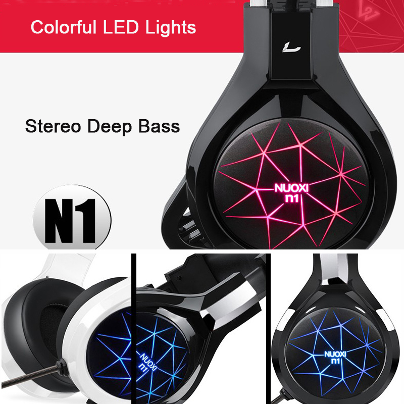 US $14 21 5% OFF|NUOXI Gaming Headphones for Mobile Phone Computer PC 3 5mm  Wired Headphones with Microphone LED Lamp Noise Canceling Headset-in