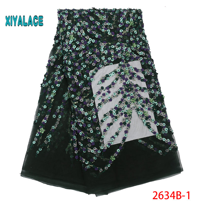 2019 New Style French Net Pearl Lace Fabric 3D Flower African Tulle Lace With Beads High Quality Nigerian Lace Fabric YA2634B-1