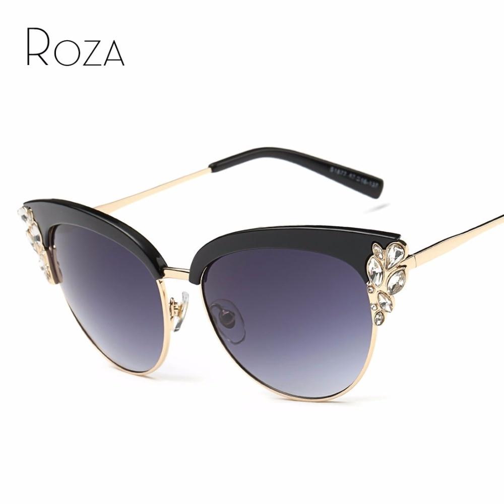 ROZA Sunglasses Women Brand Designer Cat Eye Rhinestones ...