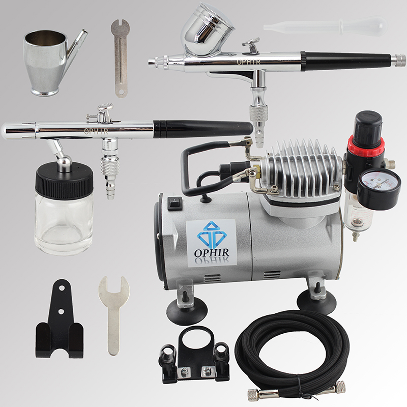 OPHIR 2 Airbrush Kit with 110V 220V Air Compressor Spray Paint Gun for Body Paint Art Model Hobby Cake Decorating _AC089+004+072 ophir professional dual action airbrush compressor kit with air tank for cake decorating model hobby tattoo  ac053 ac004 ac070