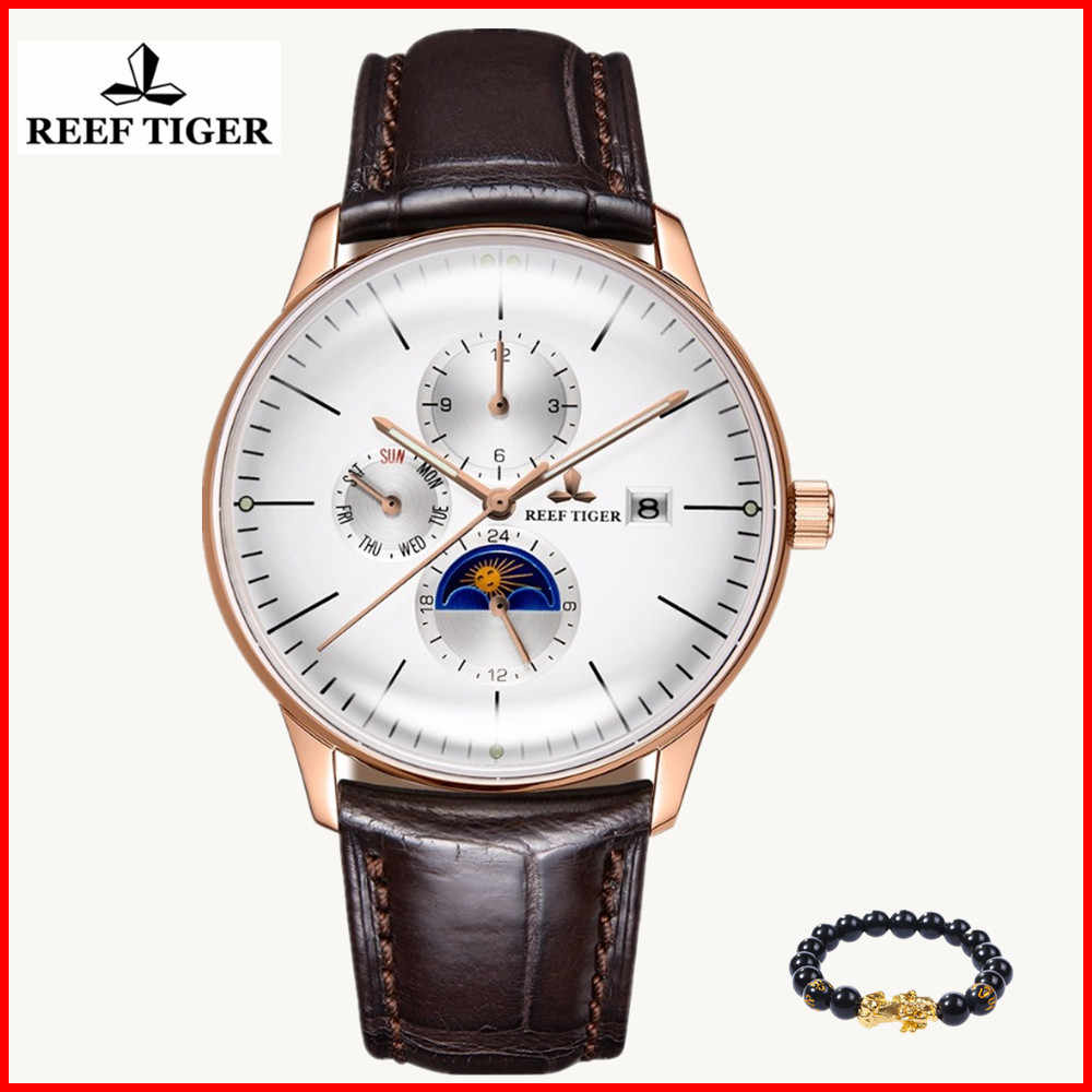 2019 Reef Tiger/RT Luxury Casual Watches Waterproof Rose Gold Automatic Watches Men Convex Lens Analog Watches Relogio Masculino