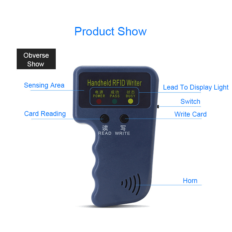 Купить с кэшбэком Handheld 125KHz RFID Copier Writer Programmer Reader 5pcs T5577 EM4305 Rewritable ID Keyfobs Tags ID Card Copier RFID Duplicator