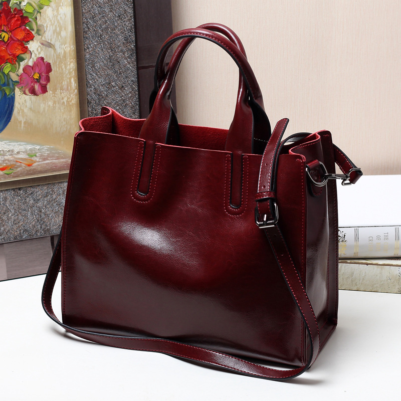 Real Cowhide Messenger Shoulder Bags Ladies Genuine Leather Bucket Bags Handbag Women Tote Brown Bag