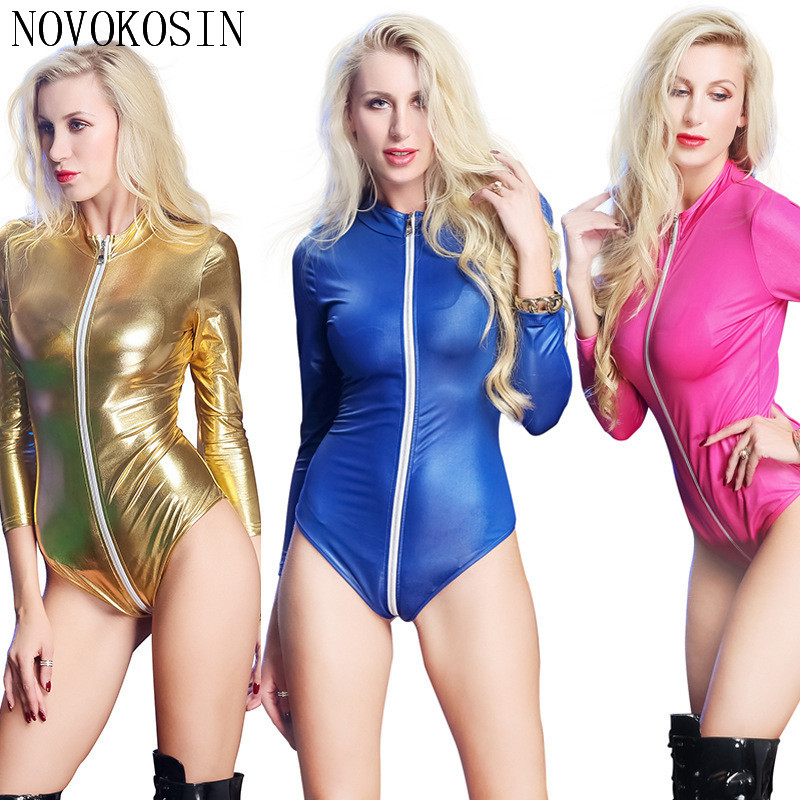Buy XX87 S-3XL 2018 Hot Rose Red Sexy Imitation Leather Front Crotch  Zipper Women Erotic Bodysuit Ultimate Black Teddies
