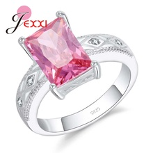 JEXXI Luxury Crystal Pink Light Simple Design 925 Sterling Silver Rings Wedding Bride   Jewelry Simple Design High Quality