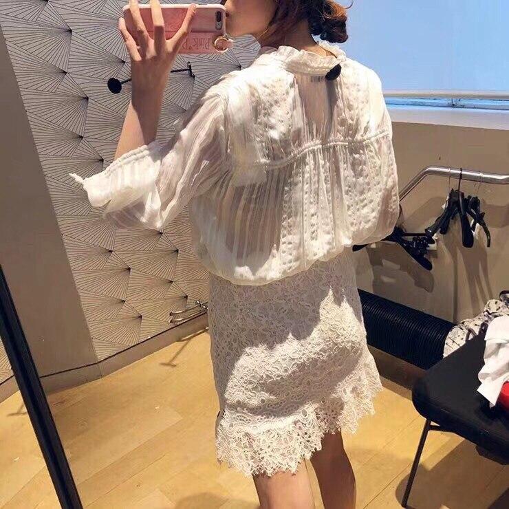 2019 printemps nouveau ruban arc col lanterne à manches longues pli plissé pur blanc lâche blouse - 2