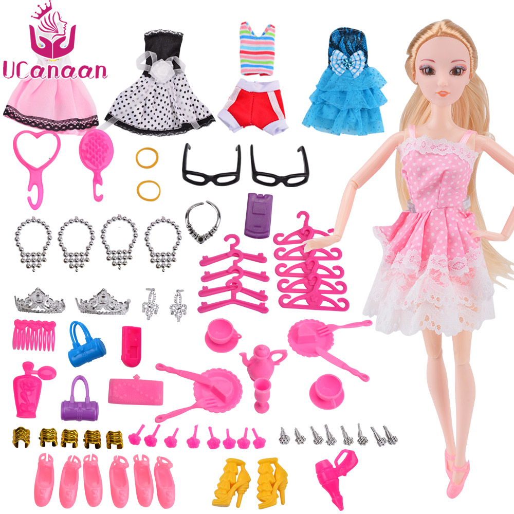 UCanaan 30CM Princess Dolls With Accessories And 5 Beauty Clothes Girls Toy For Children Playmate Kids DIY Toys Birthday Gifts 18 american girl dolls princess dolls toys for girls children birthday gift 45cm girls doll with clothes and headdress