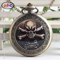 Motorcycle & Skull weird personality quartz pocket watch Christmas gift table and table at midnight DS103