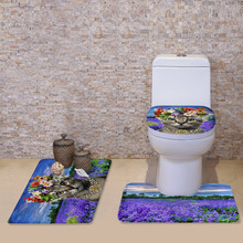 3Pcs New Flannel Cartoon kitten 3D Printed Carpet Bath Mat Toilet Seat Pad Foot Pad Toilet Bathroom Accessories Sets(China (Mainland))