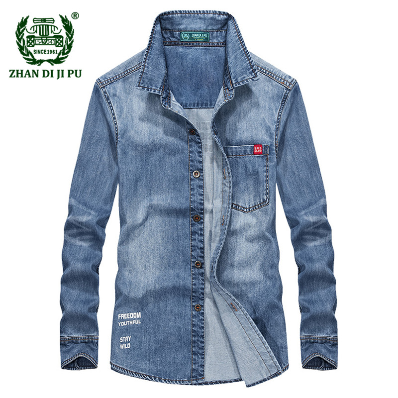 2018 Autumn men's fashion letter denim blue shirt man spring casual brand 100% cotton afs jeep long sleeve cowboy shirts clothes