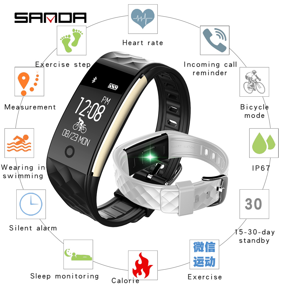 SANDA new smart bracelet watch for Android iOS sports Bluetooth smart watch heart rate sleep monitor fashion watch|Digital Watches|   - title=