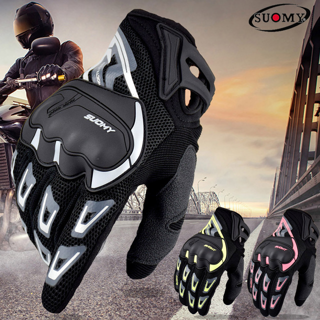 SUOMY Summer Breathable Motorcycle Gloves Touch Screen Guantes Motorbike Protective Gloves Cycling Racing Full Finger Gloves