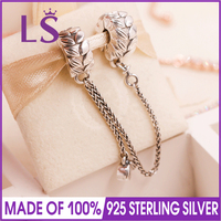LS Real 925 Silver Grains of Energy Safety Chain Fit Original bracelete Charms Pulseira Encantos.Fashion Jewelry For Lady