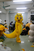 Hot sale 2014 Adult cartoon character lovely yellow dragon Mascot Costume fancy dress party costumes