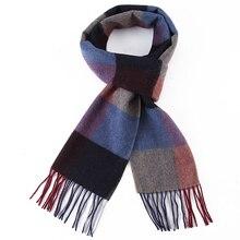 Nova chegada lenço de lã 100% xadrez inverno cashmere lã scarfs unisex luxo grosso moda inverno quente longo macio cachecóis masculinos