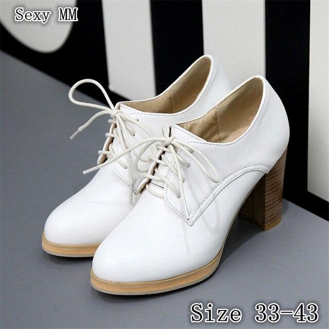 Tacones altos Bombas mujeres Oxfords carrera campus Zapatos mujer tacón alto Zapatos gatito Tacones tamaño 33-40 41 42 43