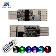 цены на 6pcs 10pcs 12V RGB Colors T10 5050 6 SMD Led Lamp Bulbs Turn Stop Signal Cars Indicator Door Light with Controller Free Shipping в интернет-магазинах