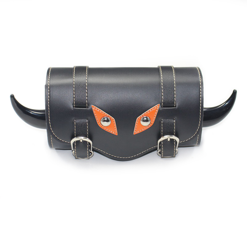 1X Motorcycle Bike Black PU Leather Bar Side Saddle Tail Luggage Bag Tool Pouch