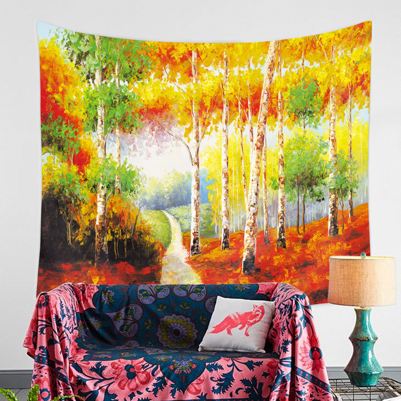 Colourful Woods Home Furnishing Tapestry Wall Hanging Sandy Beach Picnic Throw Rug Blanket Camping Tent Travel Sleeping Pad