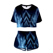 Alan Walker Women Outfits Two Piece Set Outfit 3D T-Shirt Womens Suit Shorts Summer Top Ensemble Femme DJ Biker