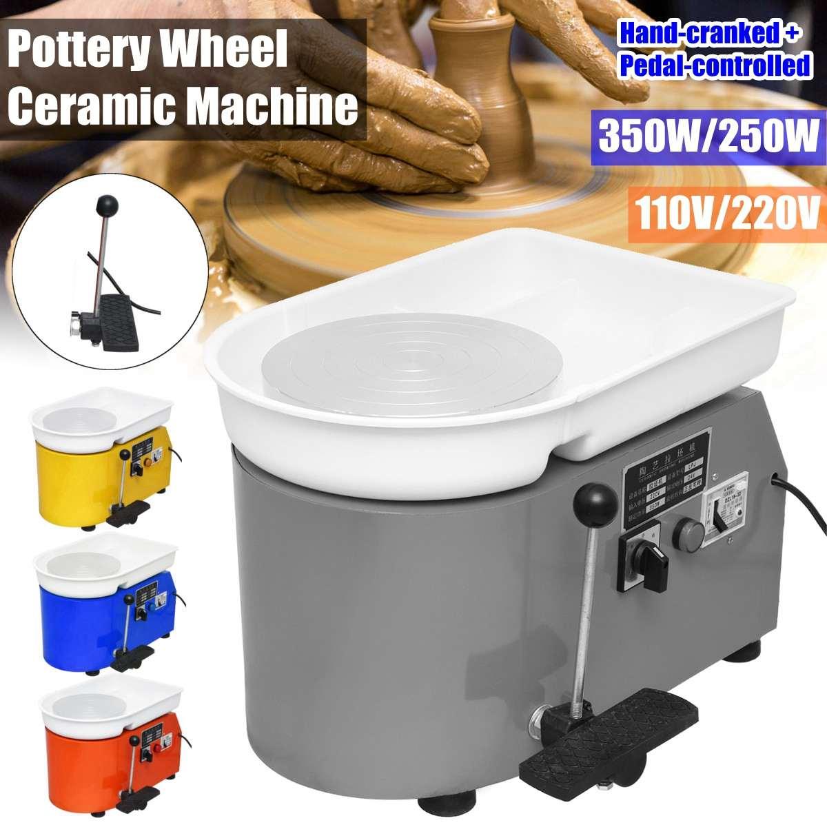 Ruota di Ceramica di ceramica Che Forma Macchina 110 V 550 W Elettrico FAI DA TE Strumento di Argilla con Vassoio Flessibile A Mano Piede Pedale Per ceramica di Lavoro