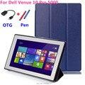 Para Dell Venue 10 Custer PU de cuero del Soporte del tirón Cubierta de la Caja capa para para Dell Venue Pro 10 5000 5055 Tabletas de caso + OTG + Pen