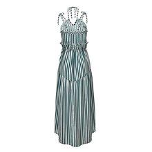 Sexy Strap Dress Women 2019 Boho Stripe Print Fashion Lace Up Backless Summer Yellow Chic Beach Robe Casual Holiday Maxi Dresses