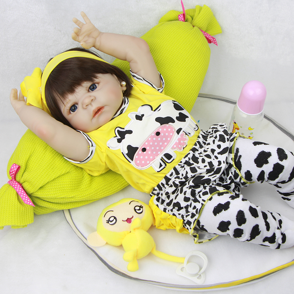 цены 23'' Lifelike Reborn Baby Dolls White Skin Babies Doll Full Vinyl Body So Truly Girl Model Doll For Toddler bebe Toy Gifts