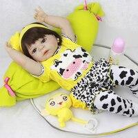 23 ''Lifelike Reborn Baby Dolls Pelle Bianca Bambini Bambola Piena del Vinile corpo In Modo Veramente Ragazza Modello di Bambola Per Bambino bebe Toy Regali