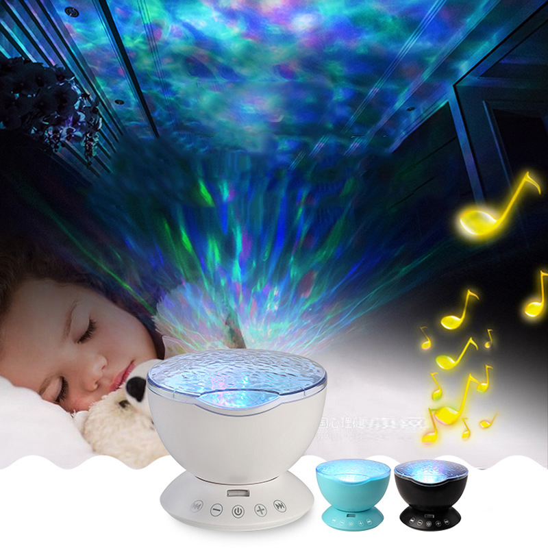 Novelty USB Remote Ocean Wave Led Night Light Projector AUX/TF Music Player Desk Lamps Luminaria Christmas Baby Kids Nightlight