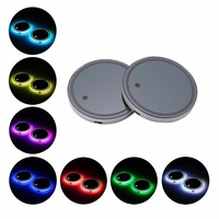 2x LED Car Cup Lights For Universal Car Holder Pad Waterproof Bottle Drinks Coaster Built in Light Atmosphere Lamp Acessories